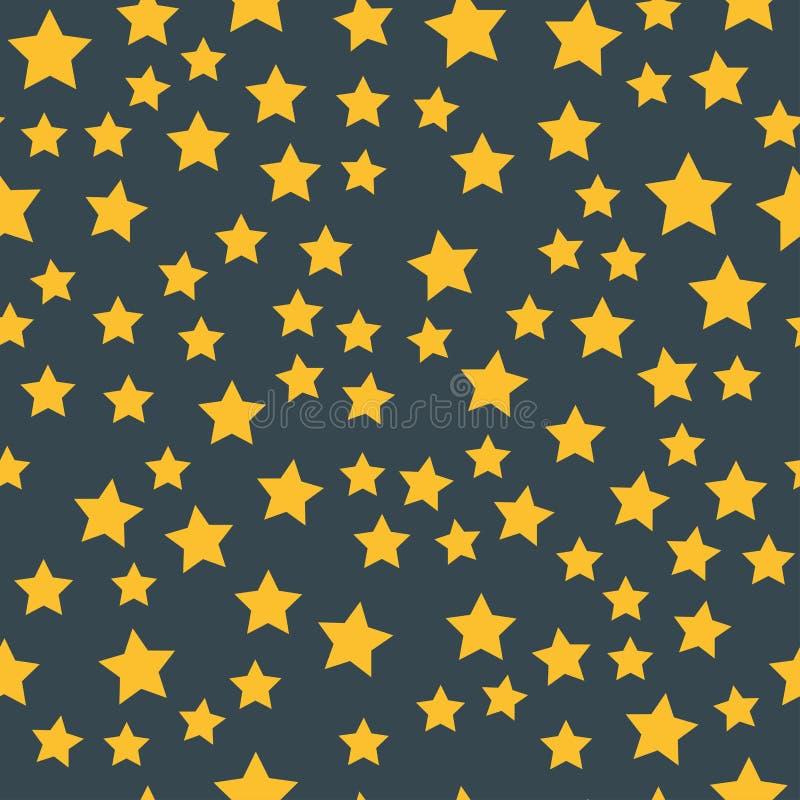 Картина сияющей звезды безшовная указала символы pentagonal ночи doodle дизайна конспекта предпосылки награды золота художнически иллюстрация вектора