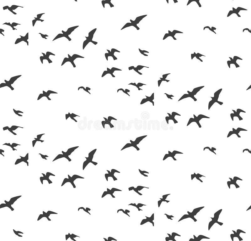Картина силуэтов чайок безшовная Стадо gra летящих птиц иллюстрация вектора