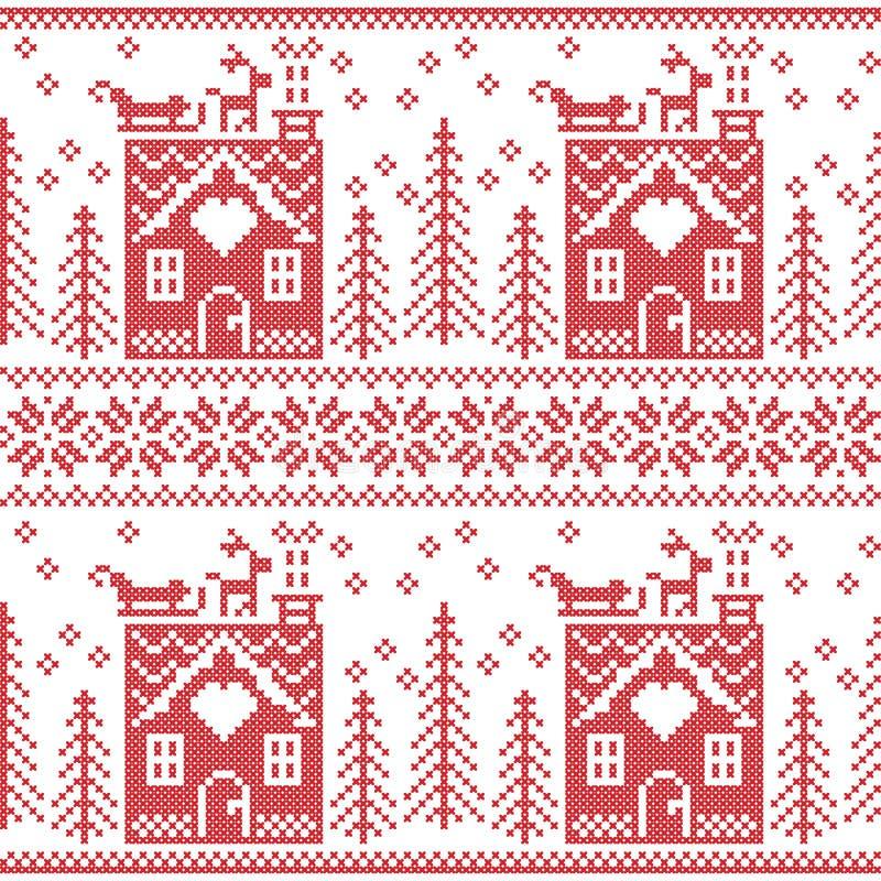 Картина скандинавского нордического рождества безшовная с домом хлеба имбиря, чулками, перчатками, северным оленем, снегом, снежи иллюстрация вектора