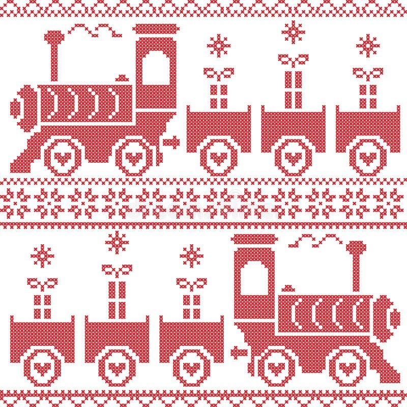 Картина скандинавского рождества нордическая безшовная с выгодным предприятием, подарками, звездами, снежинками, сердцами, снегом иллюстрация штока