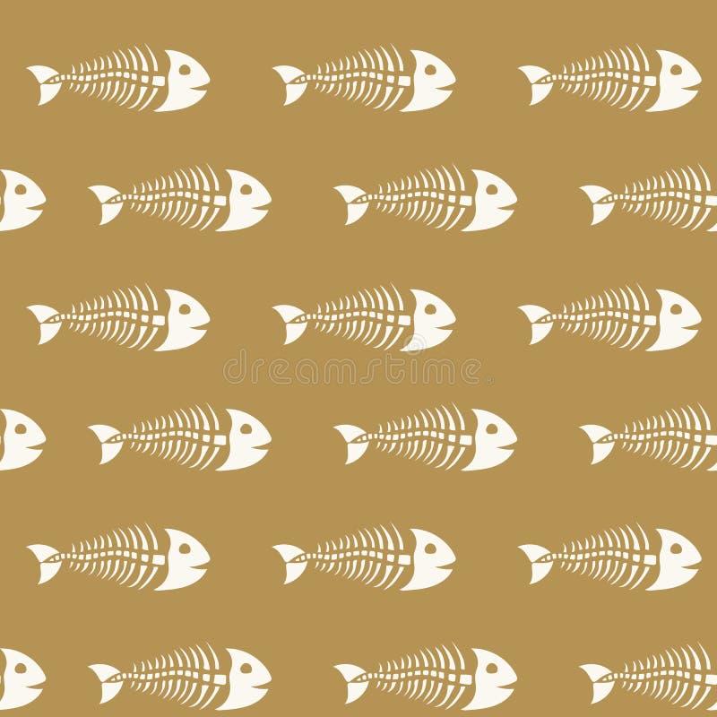 Картина скелетов рыб нарисованных вручную стоковые изображения rf