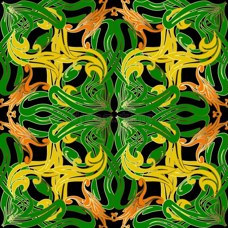 Картина сложного стиля барокко фантазии безшовная Предпосылка флористического вектора орнаментальная красочная Зеленые желтые цве иллюстрация штока