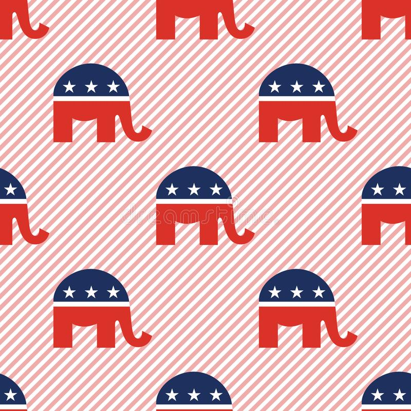 Картина слонов безшовная на красных нашивках иллюстрация вектора