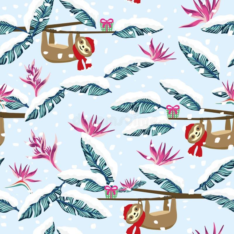 Картина смешной подарочной коробки лени мультфильма снежная тропическая безшовная голубая бесплатная иллюстрация