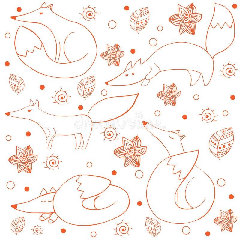 Картина смешной счастливой лисы шаржа безшовная иллюстрация вектора