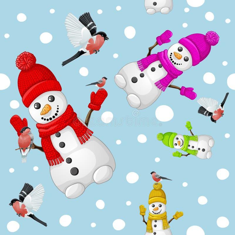 Картина снеговика с bullfinch над предпосылкой снежинок бесплатная иллюстрация