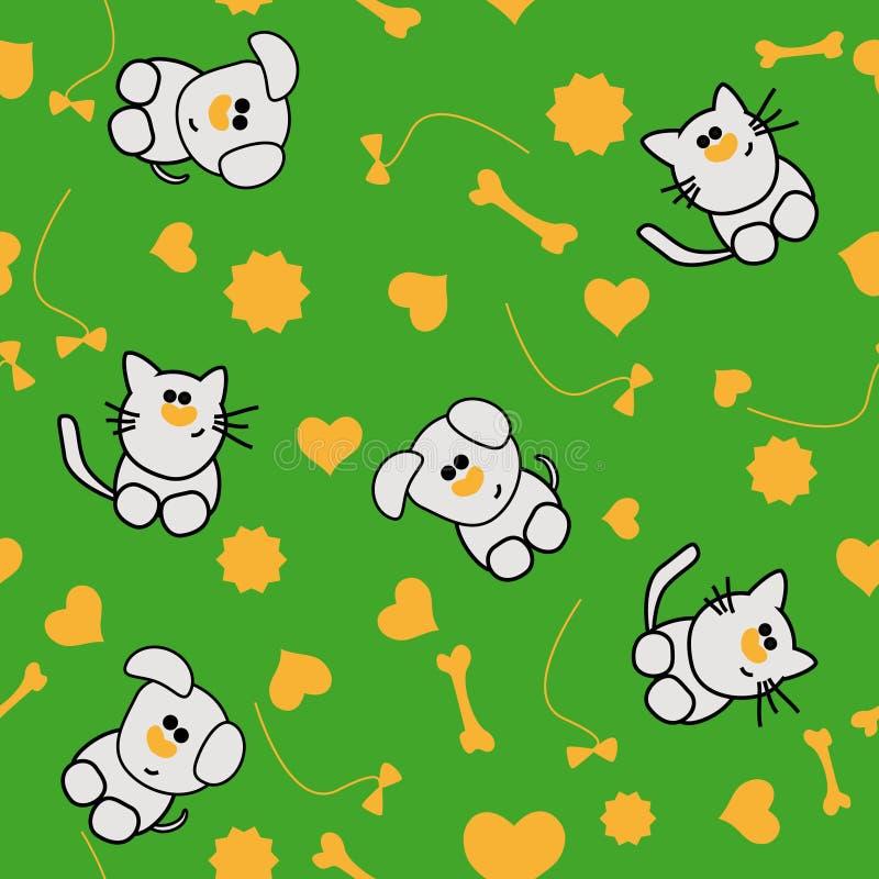 картина собаки кота безшовная бесплатная иллюстрация