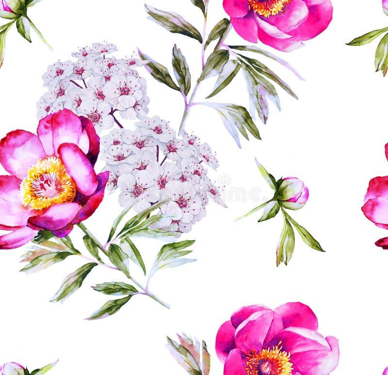 Картина современного флористического цветения безшовная иллюстрация вектора