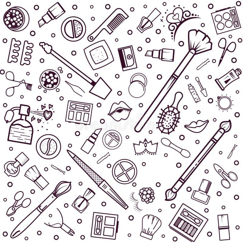 картина состава безшовная Иллюстрации различных косметик Губная помада и pomade, щетки для составляют очарование вектор иллюстрация штока