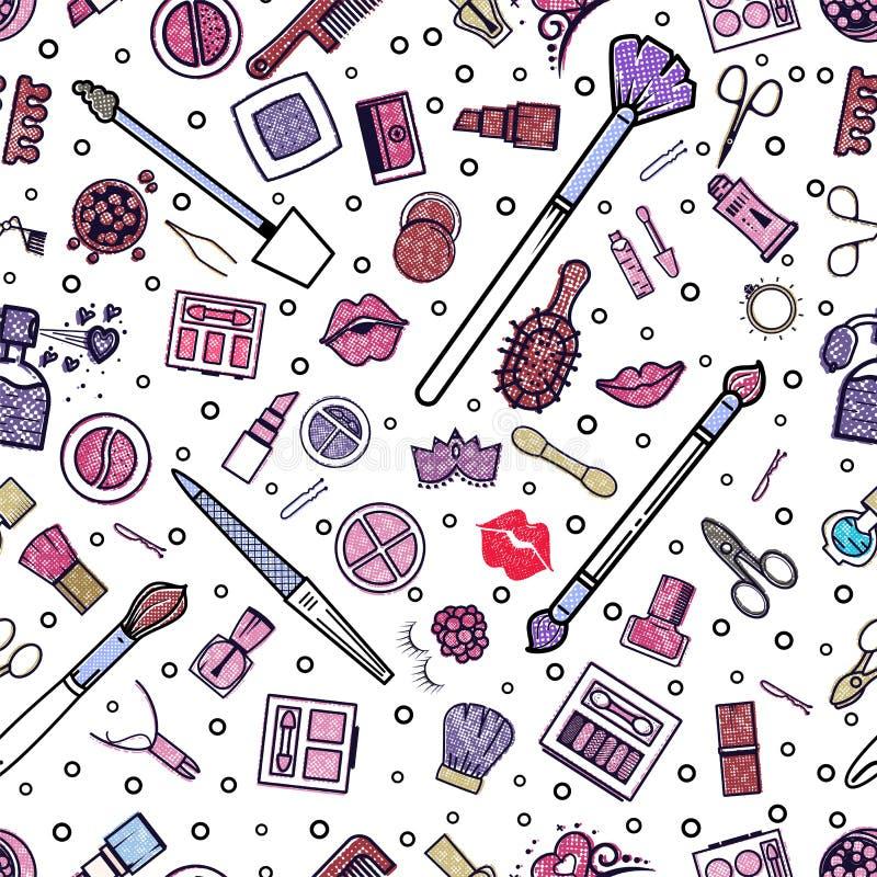 картина состава безшовная Иллюстрации различных косметик Губная помада и pomade, щетки для составляют очарование вектор иллюстрация вектора