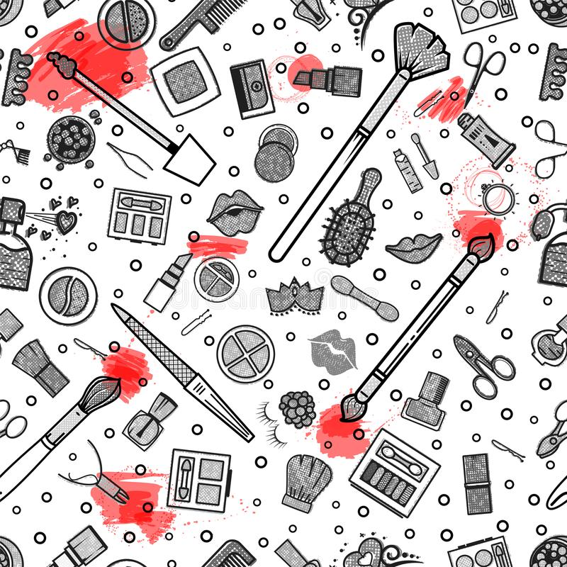 картина состава безшовная Иллюстрации различных косметик Губная помада и pomade, щетки для составляют очарование вектор бесплатная иллюстрация