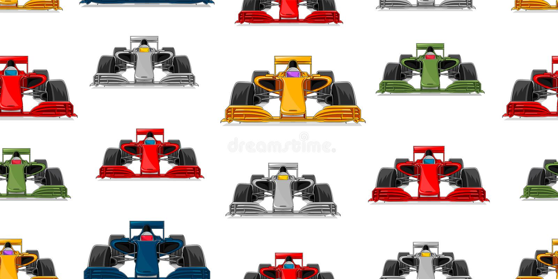 Картина спортивной машины безшовная, современный вид спереди гоночных автомобилей повторила иллюстрацию в других цветах, ткани ил иллюстрация штока