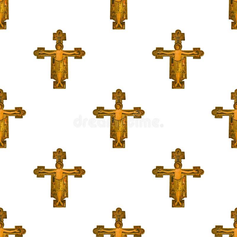 Картина средневекового Иисуса Христоса стиля безшовная стоковые фотографии rf
