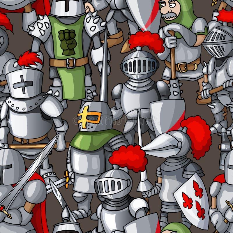 Картина средневековой armored руки образования рыцарей вычерченная безшовная, оружия воинов бесплатная иллюстрация