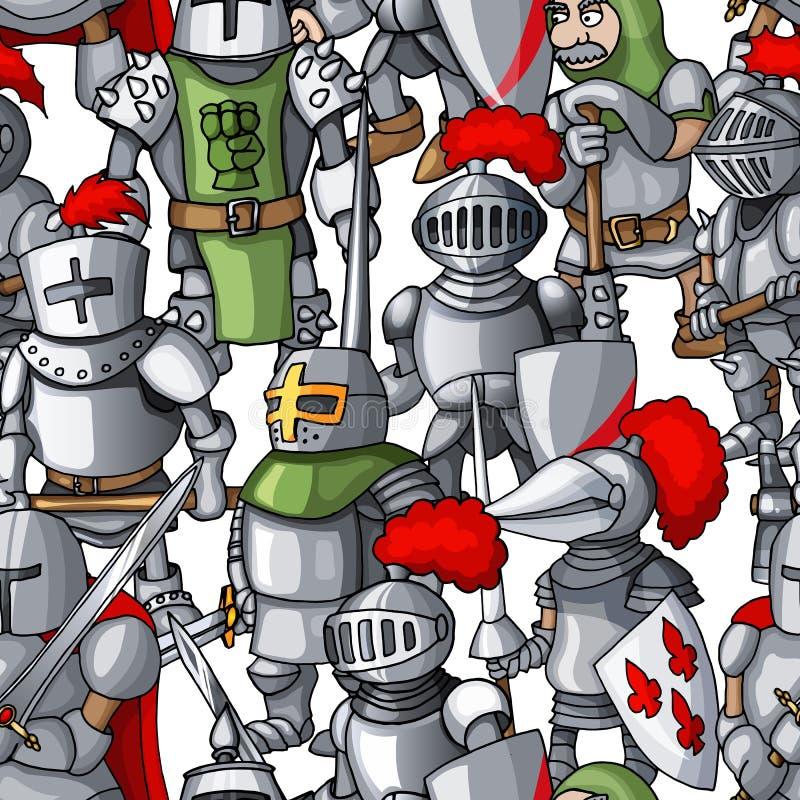Картина средневековой armored руки образования рыцарей вычерченная безшовная, оружия воинов иллюстрация штока