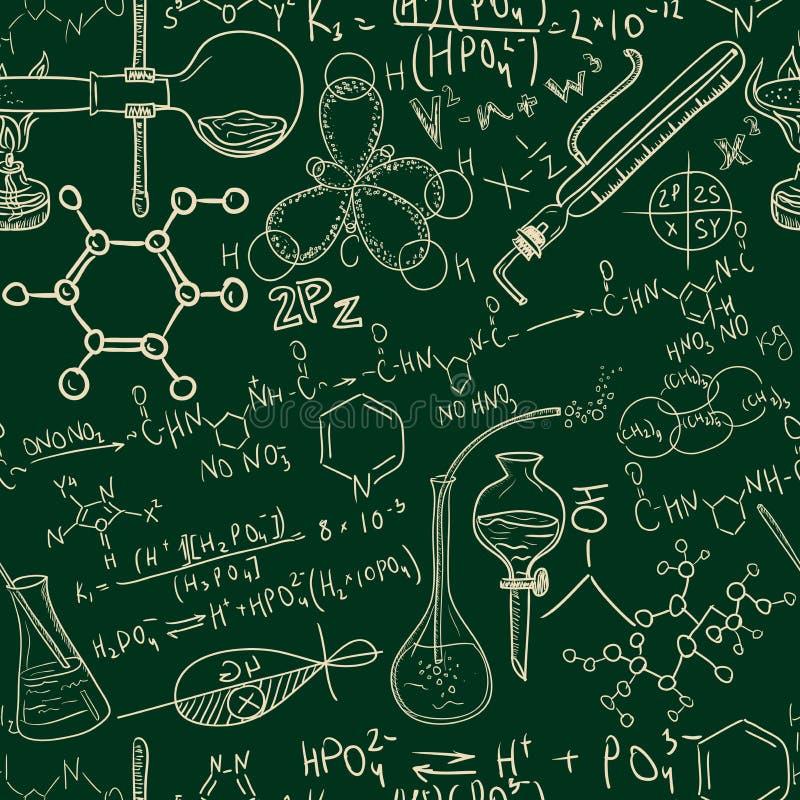 Картина старой лаборатории химии науки безшовная Стиль винтажной предпосылки схематичный бесплатная иллюстрация