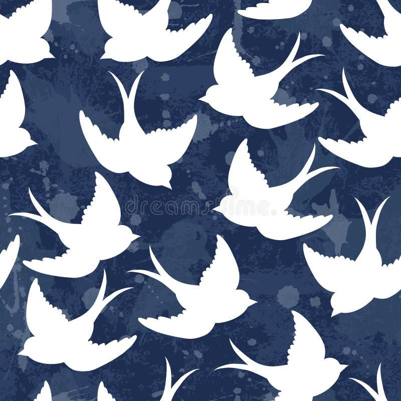 Картина старой школы с птицами иллюстрация вектора