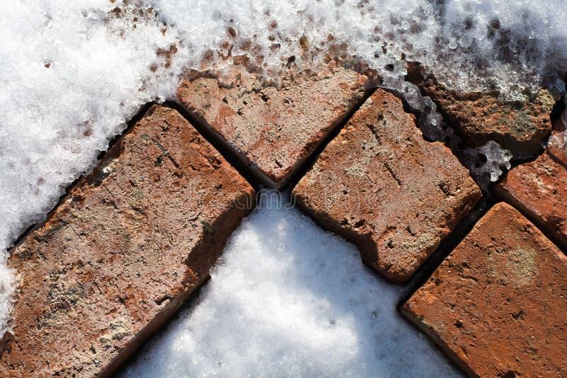 Картина старых кирпичей в снеге и льде стоковые изображения rf