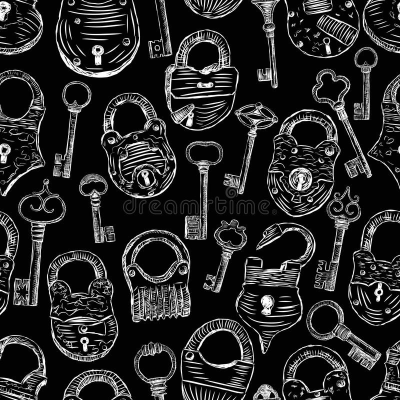 Картина старых padlocks и ключей иллюстрация штока