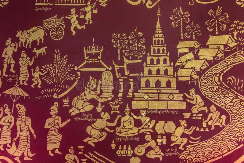 Картина стены виска - Chiang Mai - Таиланд стоковая фотография
