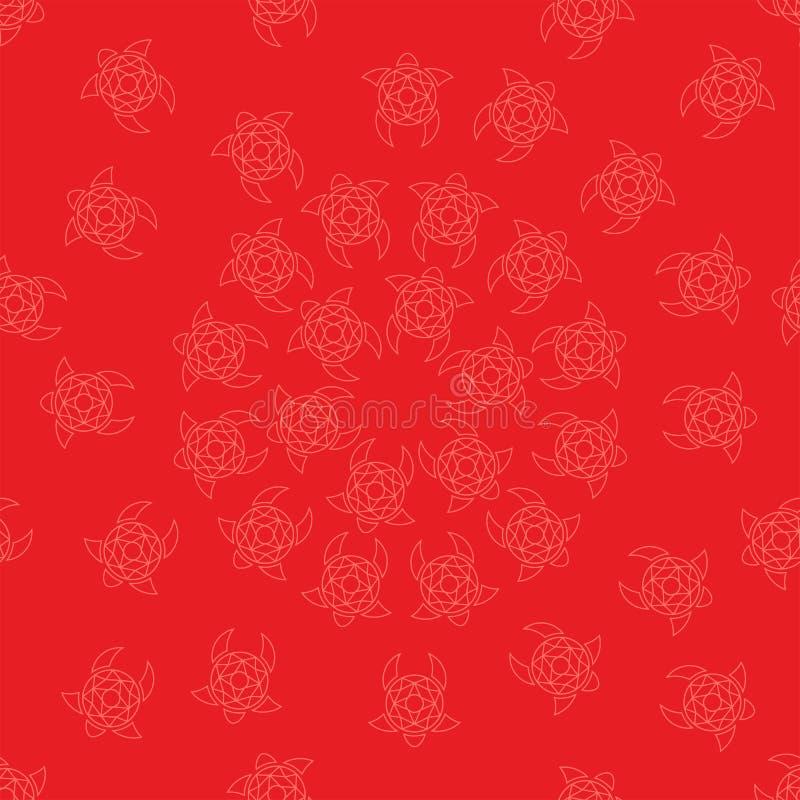 Картина стилизованных черепах в круге на красной предпосылке стоковое фото