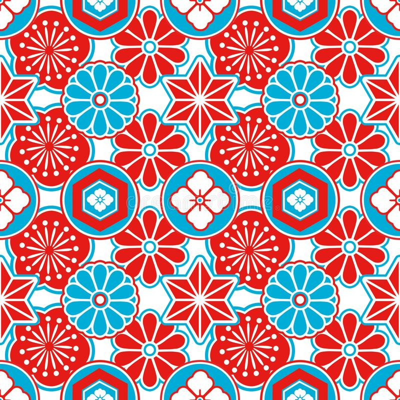 Картина стиля Азии безшовная с красными и голубыми японскими орнаментальными цветками и геометрическими элементами на белой предп иллюстрация вектора