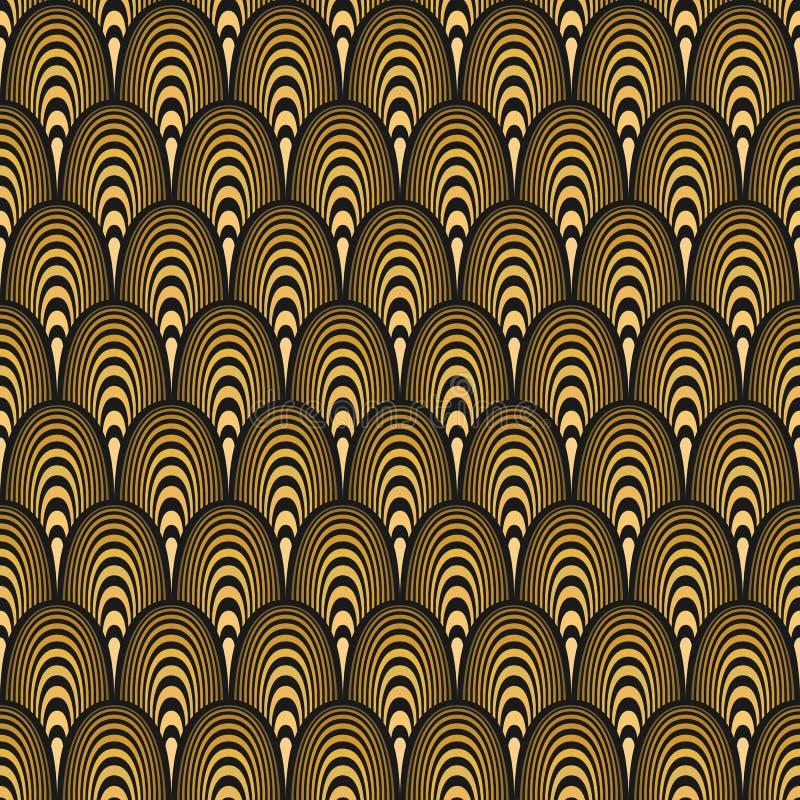 картина стиля Арт Деко безшовная черное золото иллюстрация штока