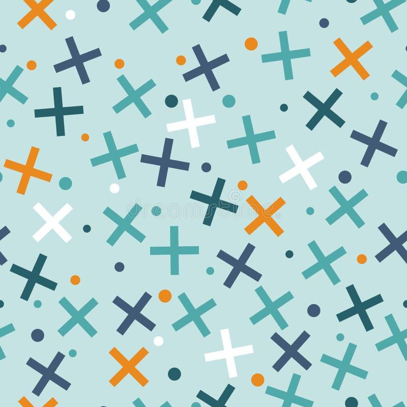 Картина стиля Мемфиса безшовная Кресты и круги Абстрактный ба бесплатная иллюстрация