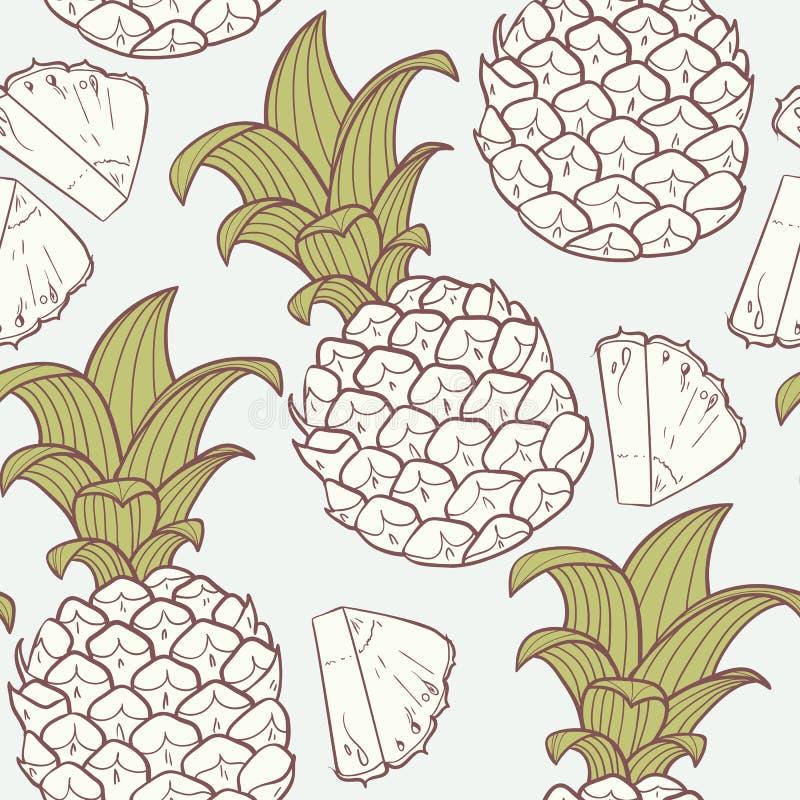 Картина стилизованного плана безшовная с ананасом иллюстрация штока