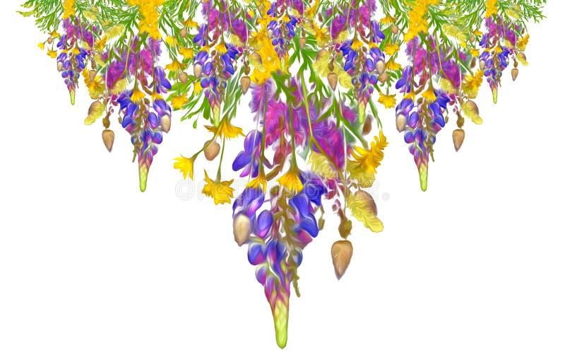 Картина стилизованной рамки флористическая безшовная - букет для приглашения стоковое фото rf
