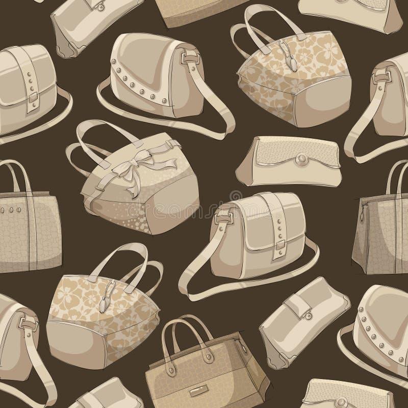 Картина стильных сумок безшовной женщины ретро иллюстрация вектора