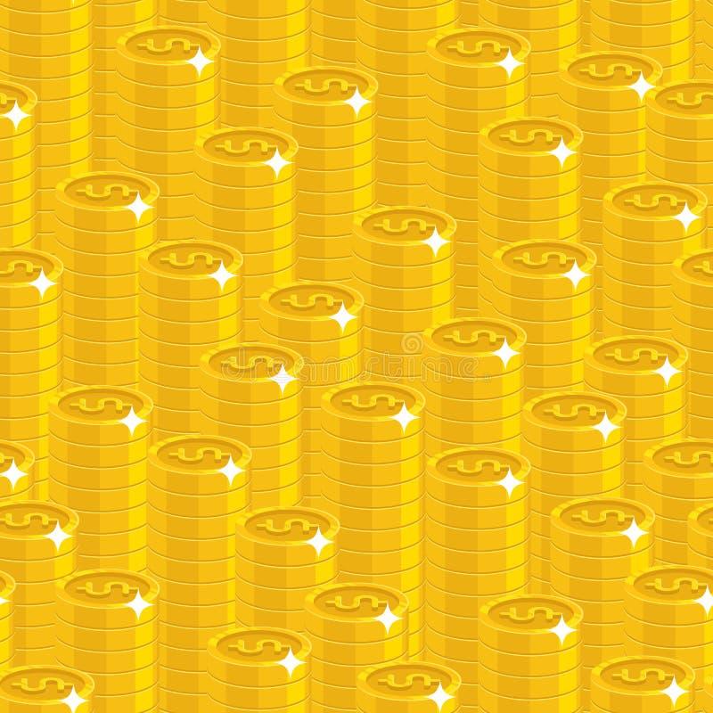 Картина стиля золотых долларов куч безшовная иллюстрация вектора