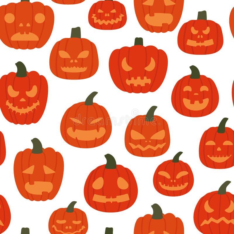 Картина страшных тыкв безшовная на белой предпосылке Предпосылка хеллоуина r иллюстрация вектора