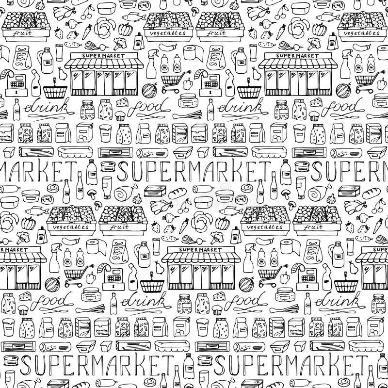 Картина супермаркета нарисованная рукой безшовная иллюстрация штока
