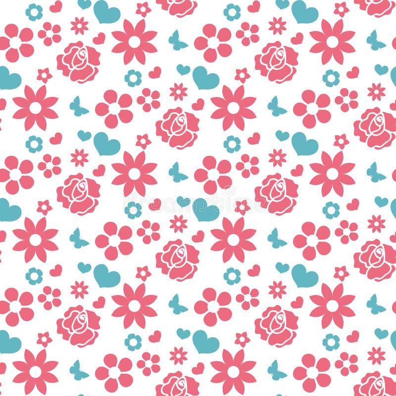 Картина счастливого дня ` s валентинки безшовная Предпосылка милой романтичной влюбленности бесконечная Сердце, цветки повторяя т иллюстрация вектора