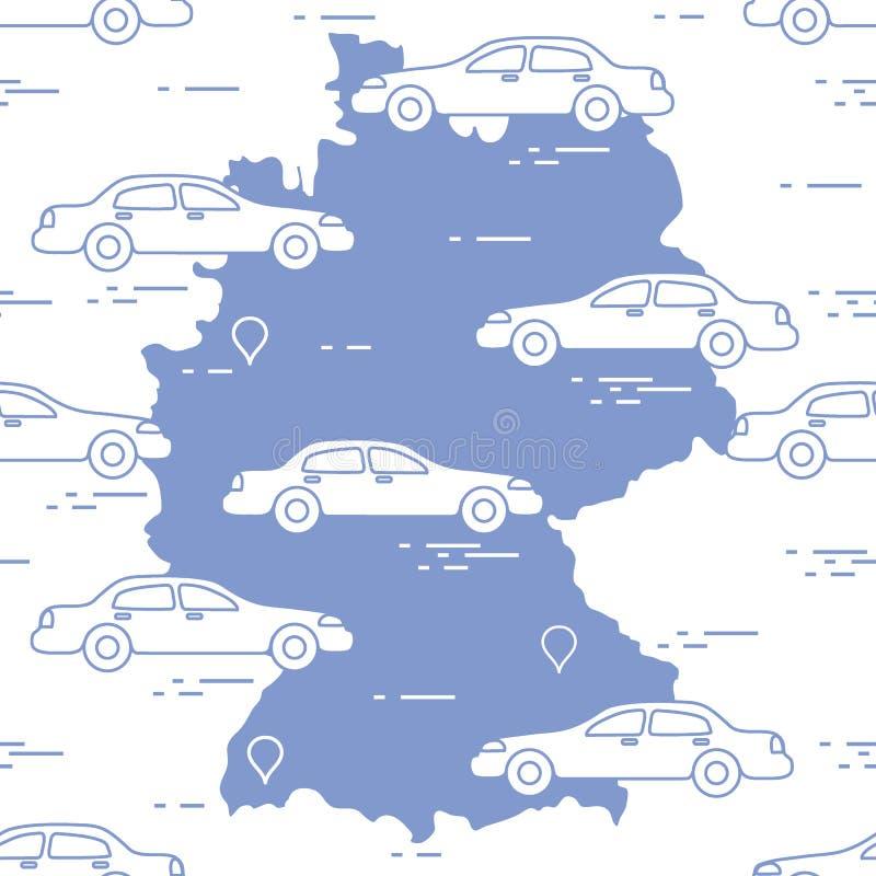 Картина с автомобилями и картой Германии Перемещение и отдых иллюстрация вектора