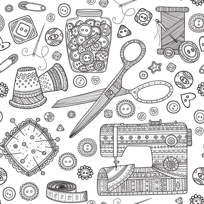 Картина с инструментами needlework, шить тема вектора безшовная иллюстрация вектора