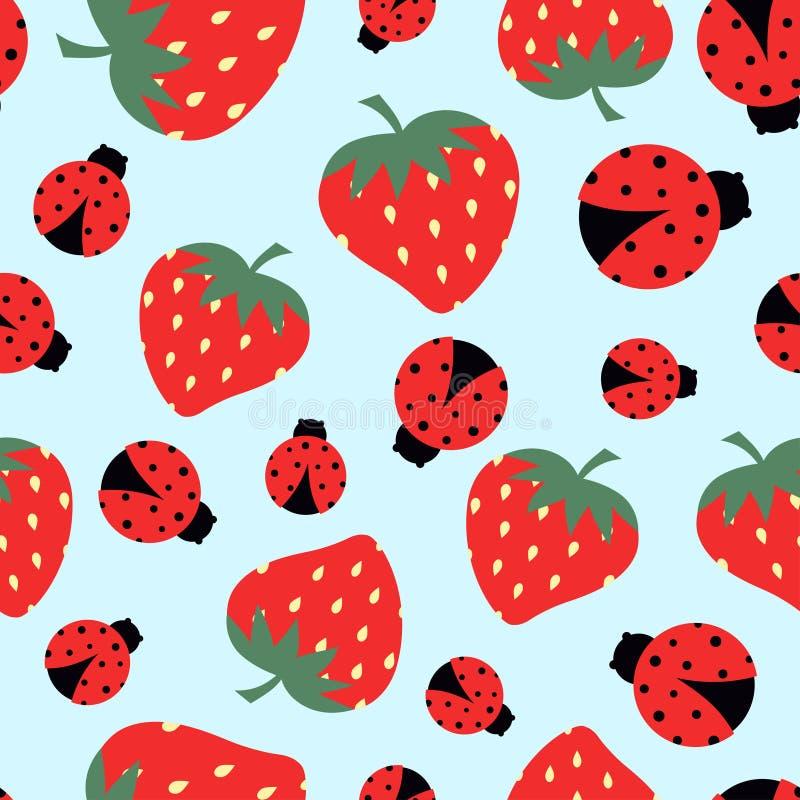 Картина с клубникой и ladybug иллюстрация штока