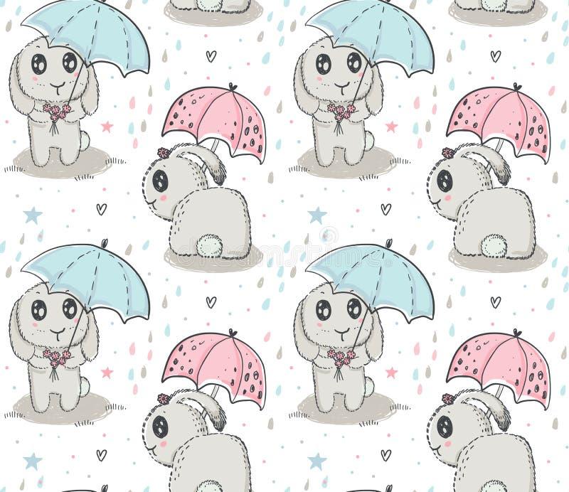 Картина с кроликами руки вычерченными милыми, зонтик вектора безшовная, падения дождя иллюстрация вектора