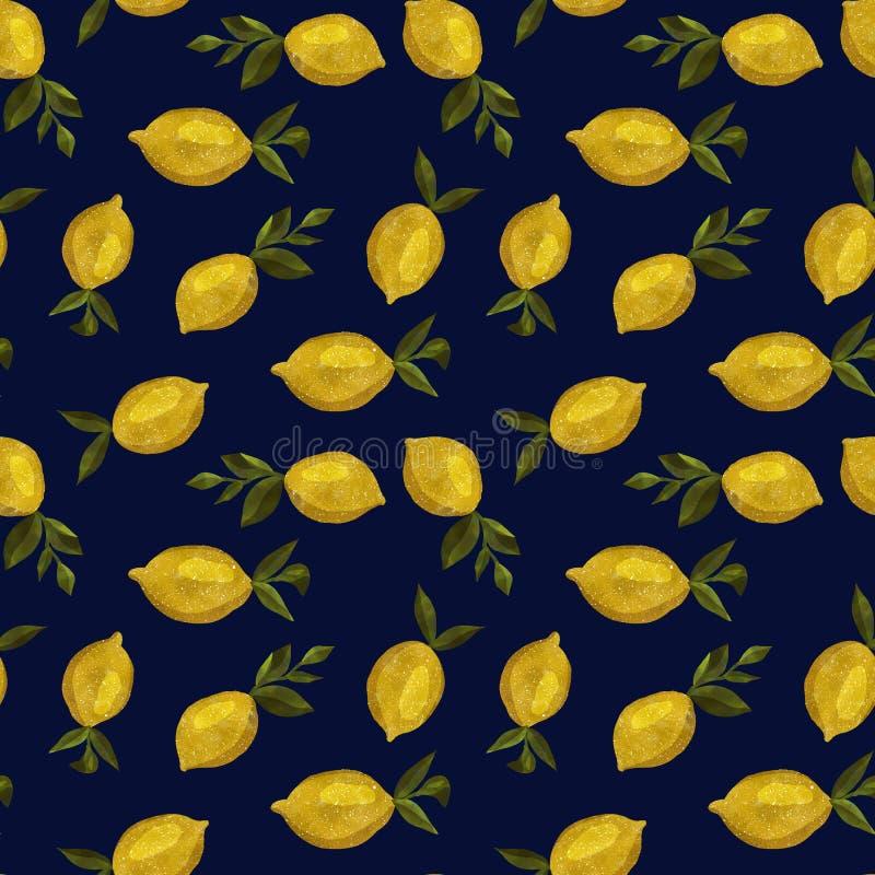Картина с лимонами акварели стоковое изображение