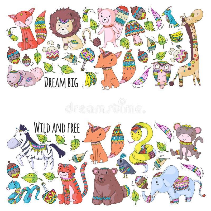 Картина с милыми животными леса и джунглей Fox, тигр, лев, зебра, медведь, птица, попугай, змейка, белка, слон бесплатная иллюстрация