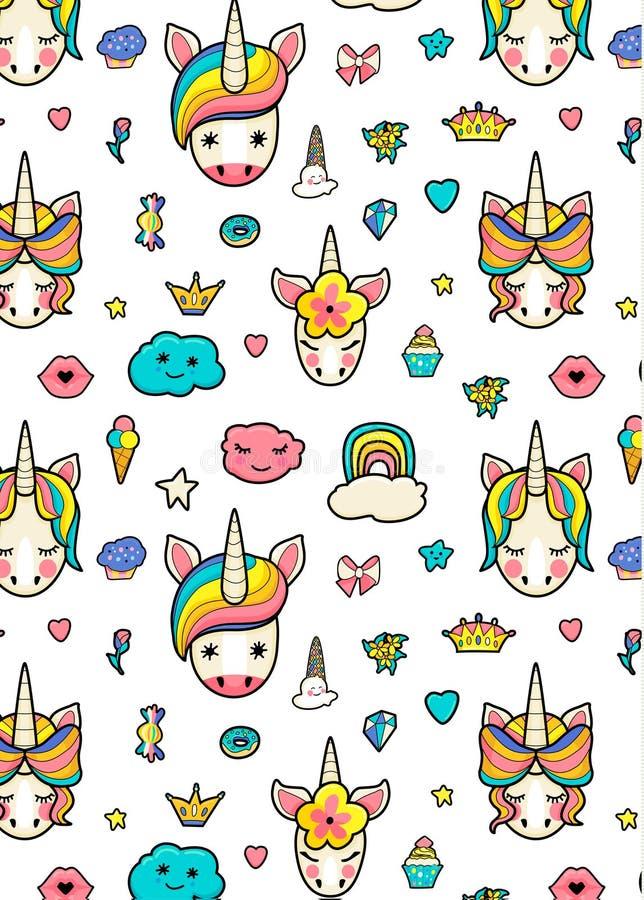 Картина с милыми сторонами единорогов, мороженое, звезды, сердца, донут, радуга, кроны, пирожное иллюстрация штока