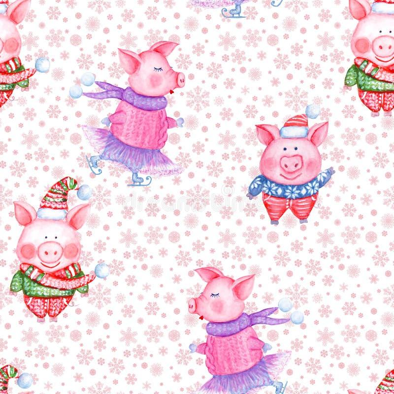 2019 картина С Новым Годом! и рождества безшовная со свиньями акварели смешными бесплатная иллюстрация