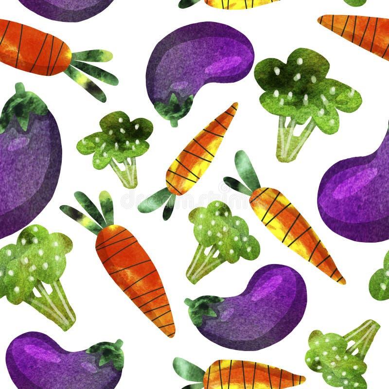 Картина с овощами, морковами, брокколи и баклажаном иллюстрация штока