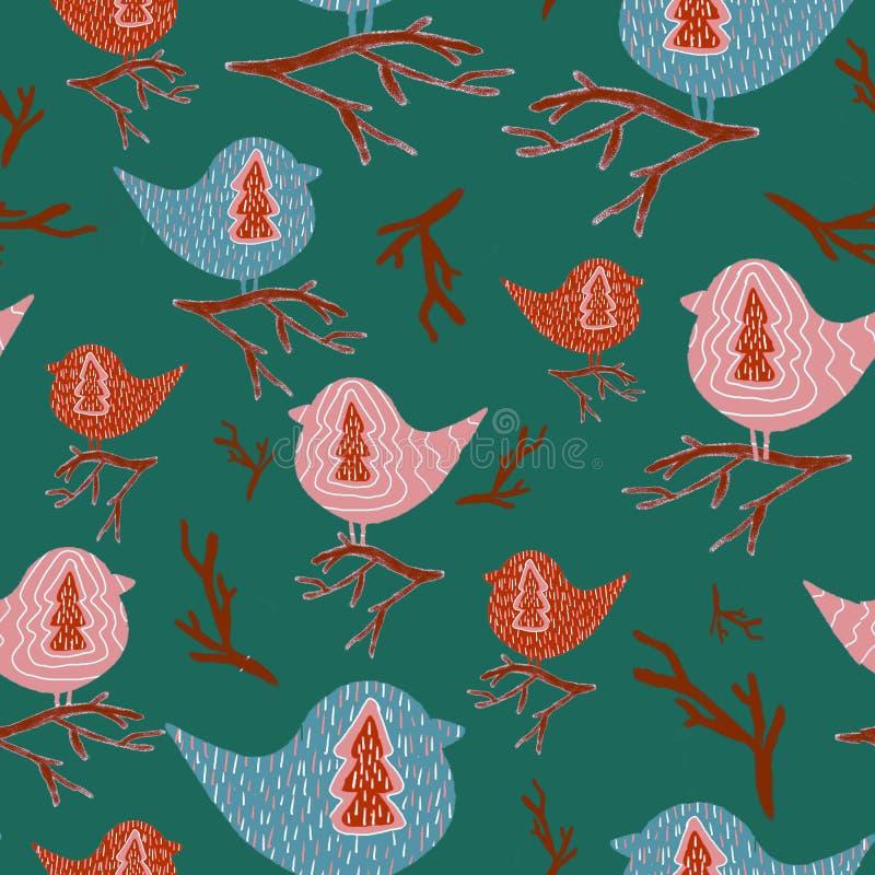Картина с птицами иллюстрация штока