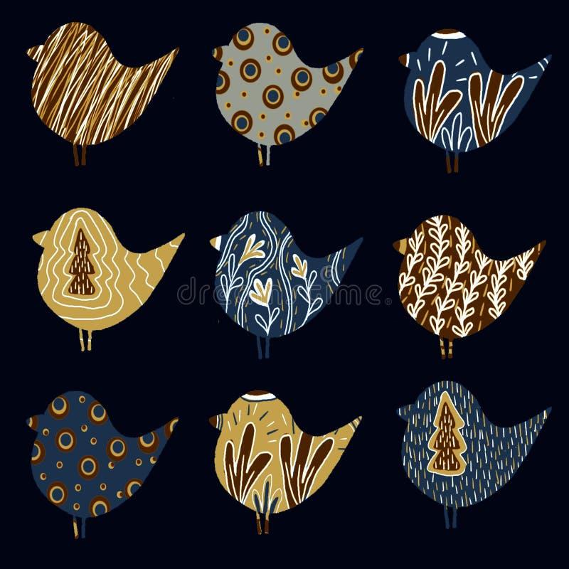 Картина с птицами иллюстрация вектора