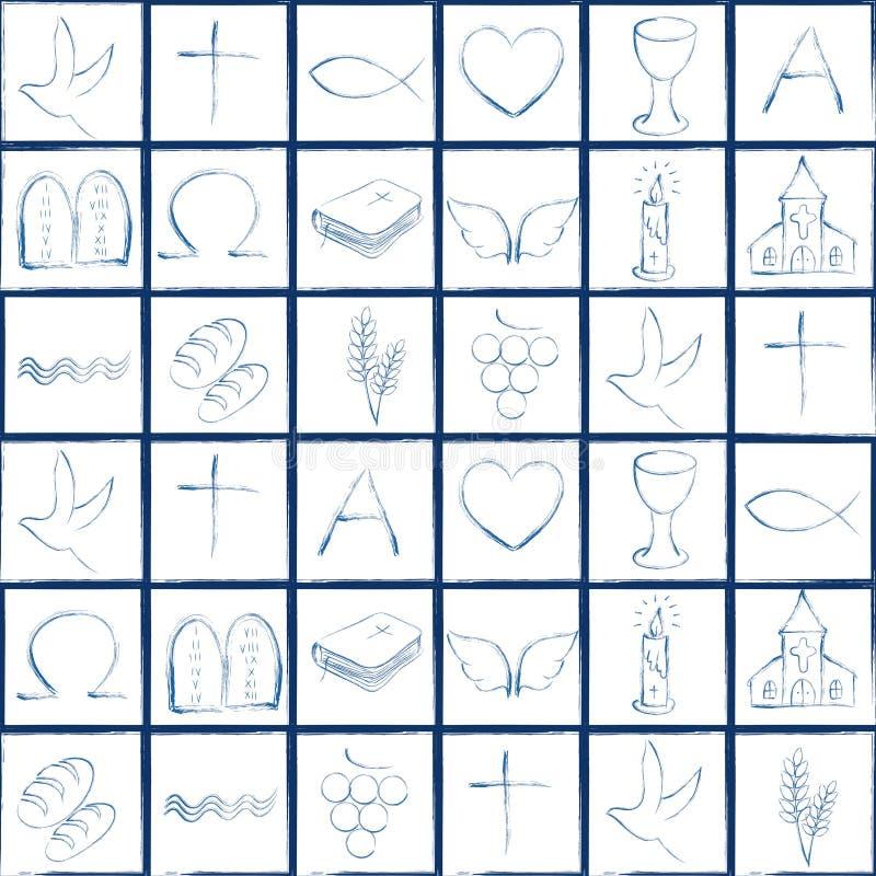 Картина с различными христианскими символами Иллюстрация при современные христианские религиозные знаки формируя красочную доску иллюстрация вектора