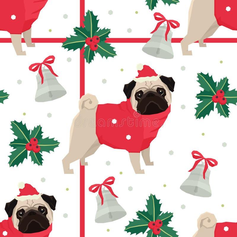 Картина с Рождеством Христовым и счастливого Нового Года безшовная с мопсом бесплатная иллюстрация