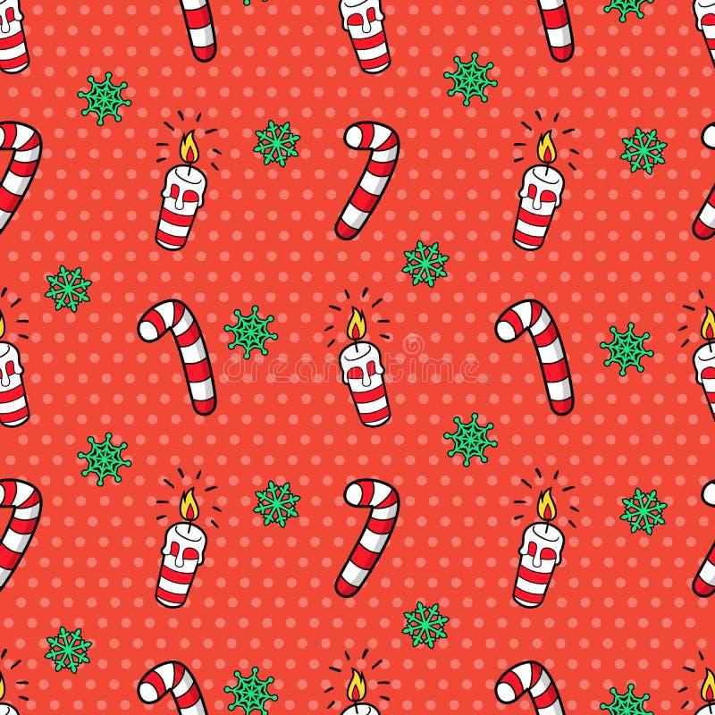 Картина с Рождеством Христовым и счастливого Нового Года безшовная с свечами и конфетами рождества Упаковочная бумага зимних отды бесплатная иллюстрация