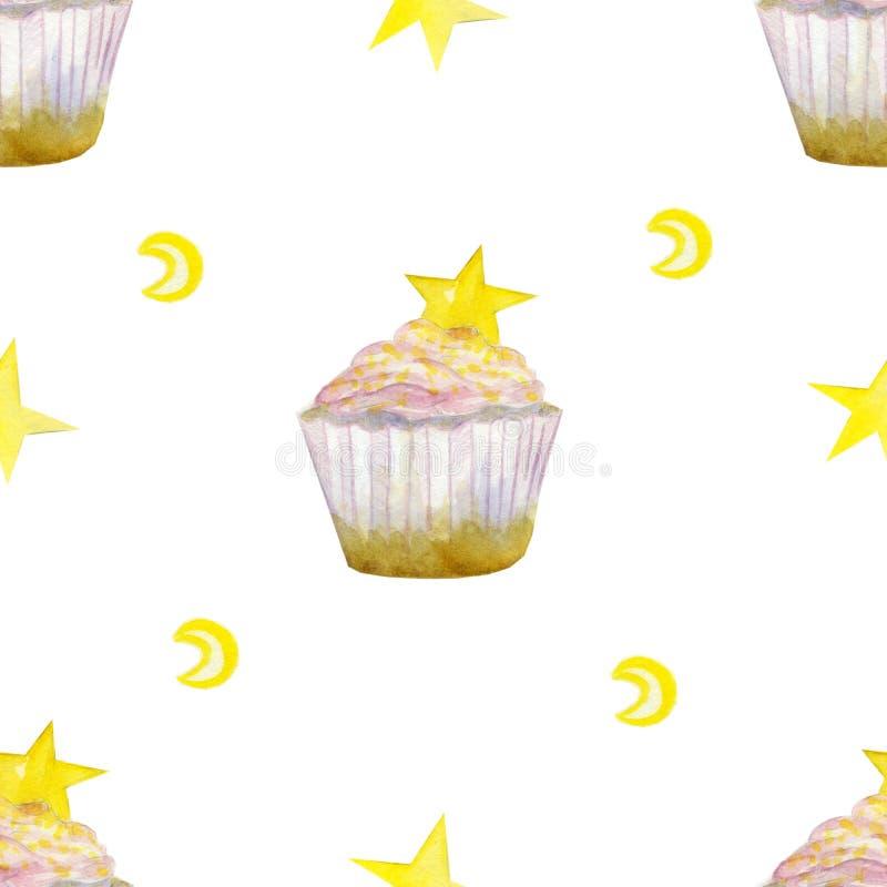 Картина с розовыми космическими пирожными и звездой, и луной бесплатная иллюстрация